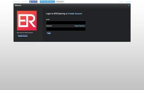 Screenshot of Login Page ercgaming.com - ERCGaming - captured July 10, 2016