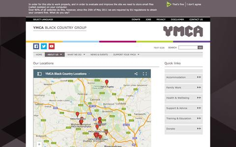 Screenshot of Locations Page ymcabc.org.uk - Our Locations | YMCA Black Country Group - captured Feb. 3, 2016