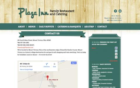 Screenshot of Contact Page plazainn.net - Contact | Plaza Inn Restaurant - captured Oct. 1, 2014