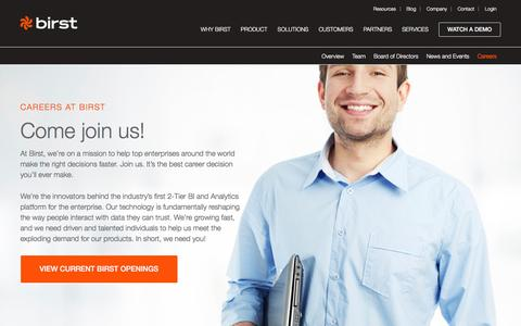 Screenshot of Jobs Page birst.com - Join Our Enterprise and BI Analytics Team - Careers at Birst - captured Dec. 4, 2015