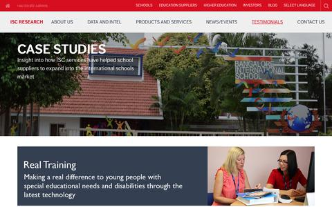 Screenshot of Case Studies Page iscresearch.com - Case Studies - ISC Research - captured Oct. 2, 2018