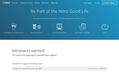 Screenshot of Jobs Page gonitro.com - Jobs Available | Nitro - captured July 18, 2017