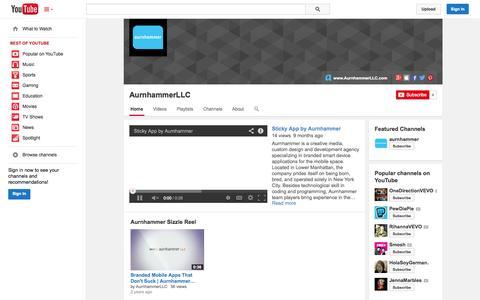 Screenshot of YouTube Page youtube.com - AurnhammerLLC  - YouTube - captured Oct. 23, 2014