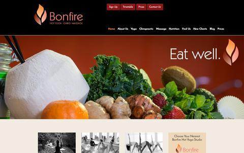 Screenshot of Home Page bonfireyoga.com.au - Bonfire Yoga - captured Sept. 13, 2015