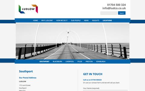 Screenshot of Locations Page ludco.co.uk - Ludlow Wealth Management Southport - captured Sept. 30, 2018