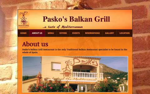Screenshot of About Page paskos.com - Pasko's Restaurant - About Us - captured Oct. 23, 2016