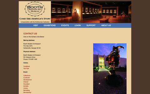 Screenshot of Contact Page boothmuseum.org - Booth Western Art Museum | Contact Us - Booth Western Art Museum - captured Oct. 5, 2014