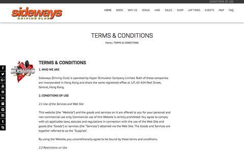 Screenshot of Terms Page sideways-driving-club.com - TERMS & CONDITIONS - Sideways Driving Club - captured Nov. 2, 2017