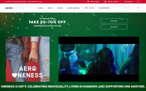Screenshot of Home Page aeropostale.com - Guys and Girls Clothes, Hoodies, Graphic Tees and Jeans | Aeropostale - captured Nov. 2, 2019