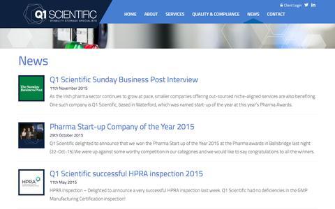 Screenshot of Press Page q1scientific.com - News - Q1 Scientific - captured Jan. 24, 2016