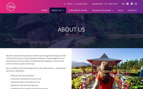 Screenshot of About Page ttfn.com.au - About Ta Ta For Now | TTFN Travel Agency - captured Oct. 18, 2018