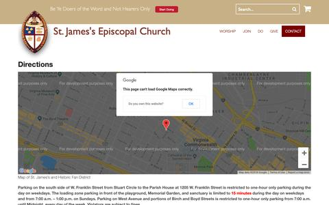 Screenshot of Maps & Directions Page doers.org - Directions | St. James's Episcopal Church - captured Nov. 16, 2018