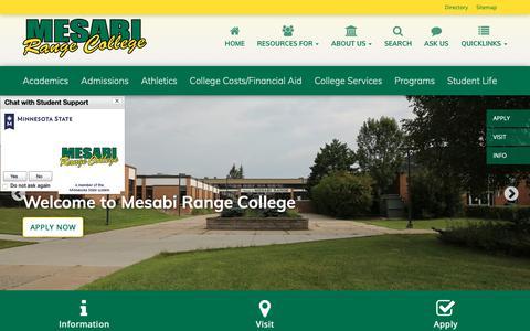 Screenshot of Home Page mesabirange.edu - Mesabi Range Home   Mesabi Range College - captured Oct. 17, 2018