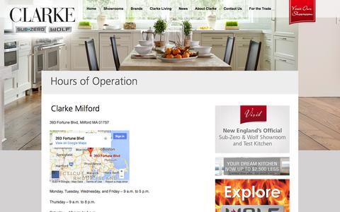 Screenshot of Hours Page clarkeliving.com - Hours of Operation | Clarke Living - captured Nov. 2, 2014