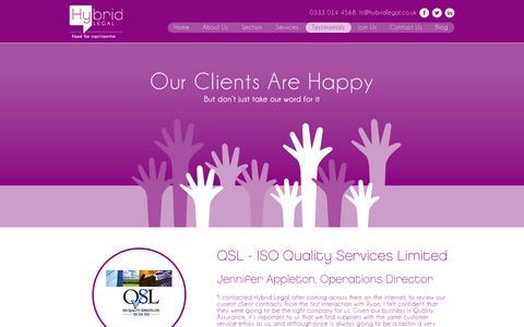 Screenshot of Testimonials Page hybridlegal.co.uk - Testimonials - Hybrid Legal - captured Sept. 30, 2014