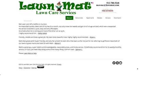 Screenshot of Testimonials Page lawnmat.com - Lawn-Mat Lawn Care Services - Testimonials   Lawn-Mat Lawn Care Services - captured Oct. 2, 2014