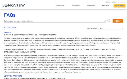 Screenshot of FAQ Page longview.com - FAQs | Performance Management Software Toronto | Longview Solutions - captured May 31, 2018