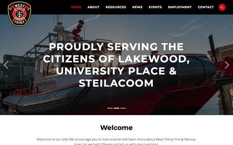 Screenshot of Home Page westpierce.org - Home - West Pierce Fire & Rescue - West Pierce Fire & Rescue - captured Sept. 25, 2018