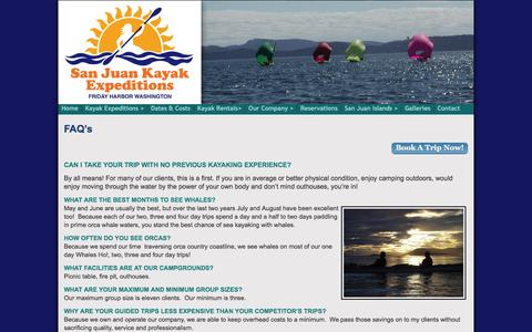 Screenshot of FAQ Page sanjuankayak.com - San Juan Kayak Expeditions  FAQ's - San Juan Kayak Expeditions - captured March 11, 2016