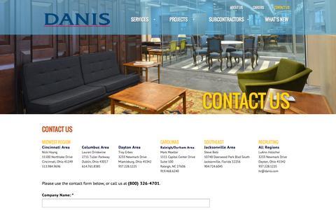Screenshot of Contact Page danis.com - Contact Us | Danis Building ConstructionDanis Building Construction - captured Oct. 5, 2014