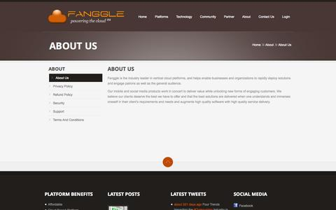 Screenshot of About Page fanggle.com - About Us  |  Fanggle | Vertical Cloud Platforms - captured Sept. 30, 2014