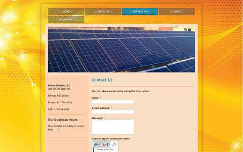 Screenshot of Contact Page pierceelectricllc.com - Contact Us - Pierce Electric LLC - captured Sept. 29, 2014