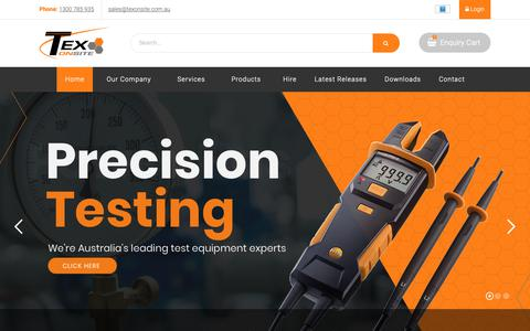 Screenshot of Home Page texonsite.com.au - TEX Onsite - The Mobile Advantage   On-site Testing and Calibration - captured Nov. 18, 2018