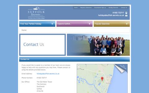Screenshot of Contact Page suffolk-secrets.co.uk - Contact Us - Suffolk Secrets - captured Oct. 7, 2014
