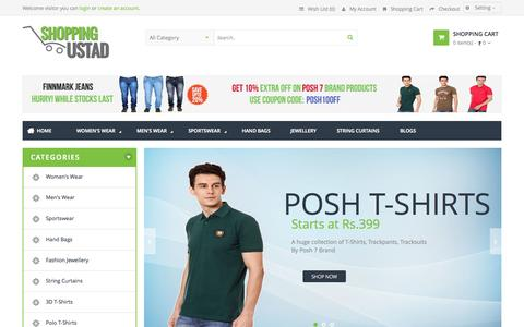 Screenshot of Home Page shoppingustad.com - Online Shopping in India - Men & Women Clothing, jewellery, Books, Handbags, Home Furnishings - captured Sept. 19, 2014