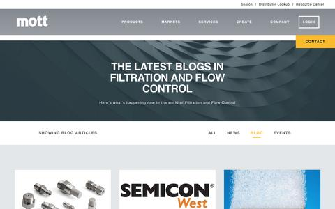 Screenshot of Blog mottcorp.com - Blog | Porous Metal Products | Filters, Spargers, and Flow Control - Mott - captured Dec. 22, 2016