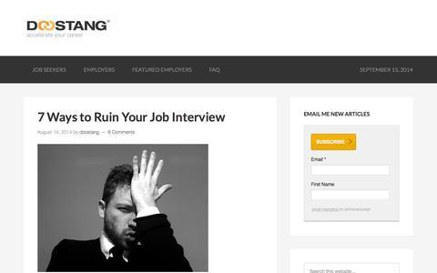 Screenshot of Blog doostang.com - Careers in Finance - Your #1 Community Resource for Job Seekers - captured Sept. 16, 2014