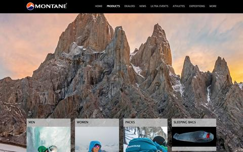 Screenshot of Products Page montane.co.uk - Montane® Product Range - captured Nov. 2, 2014