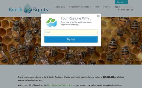 Screenshot of Contact Page earthequityadvisors.com - Contact — Earth Equity Advisors - captured July 8, 2018