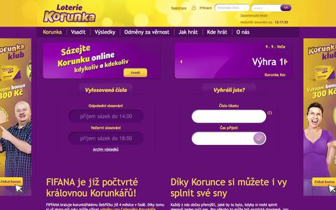 Screenshot of Home Page korunka.eu - Loterie Korunka - Korunka - captured Sept. 9, 2017