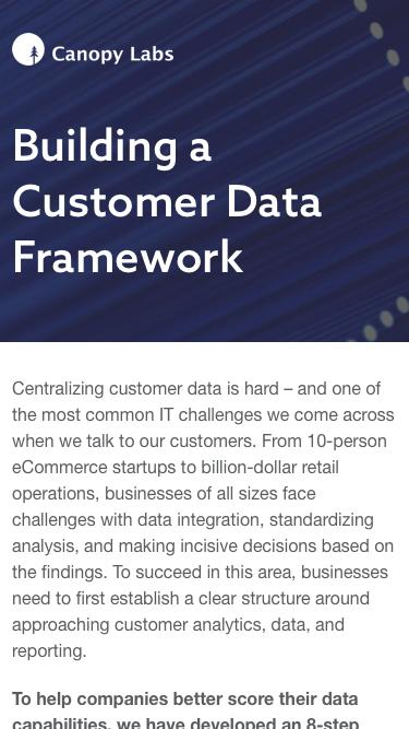 Building a Customer Data Framework - Canopy Labs