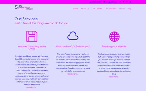 Screenshot of Services Page si29.com - Our Services   Si29 Computer Services - captured Feb. 14, 2016