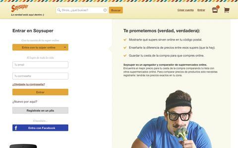 Screenshot of Login Page soysuper.com - Soysuper comparador de precios de supermercados online - captured Sept. 17, 2014