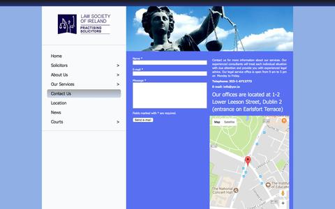 Screenshot of Contact Page yor.ie - Contact Us - Cathal N. Young O'Reilly Solicitors and Notary Public - Leeson Street, Dublin 2 (entrance at Earlsfort Terrace/Stephen's Green) - captured July 17, 2017