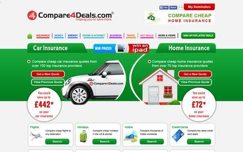Screenshot of Home Page compare4deals.com - Car insurance price comparison   compare4deals.com - captured Sept. 17, 2015