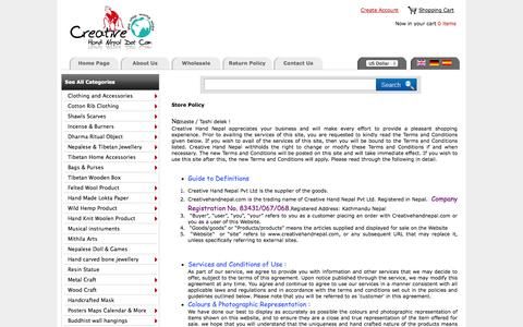 Screenshot of Terms Page creativehandnepal.com - Creative Hand Nepal :: Nepal Trade Fair  an Online Wholesale Handicraft Marketplace ! - captured Sept. 19, 2014