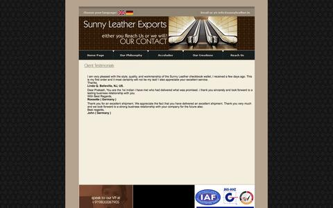 Screenshot of Testimonials Page sunnyleather.in - Sunny Leather Exports - captured Oct. 8, 2014