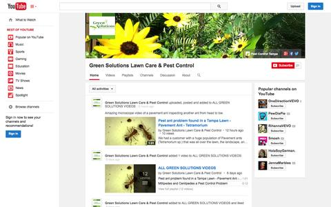 Screenshot of YouTube Page youtube.com - Green Solutions Lawn Care & Pest Control  - YouTube - captured Oct. 23, 2014