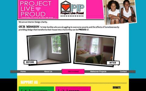 Screenshot of Support Page projectliveproud.org - plpwebsite   Get Involved - captured Nov. 14, 2016
