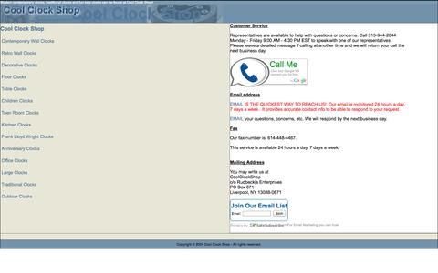 Screenshot of Contact Page coolclockshop.com - Please Log In - captured Oct. 3, 2014