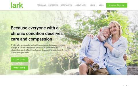 Screenshot of Home Page lark.com - Lark Health: Integrated Chronic Disease Management & Prevention Platform - captured Nov. 27, 2019