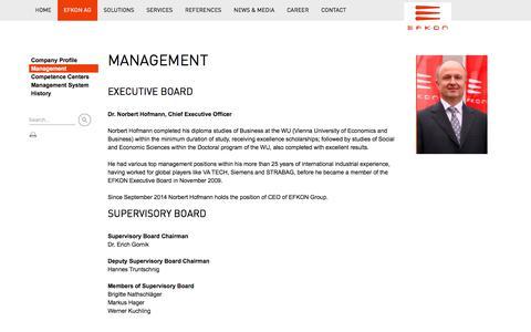 Screenshot of Team Page efkon.com - EFKON AG - MANAGEMENT - captured July 9, 2017