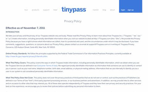 Screenshot of Privacy Page tinypass.com - Privacy Policy — Tinypass - captured Sept. 17, 2014