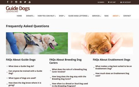 Screenshot of FAQ Page guidedogsqld.com.au - Frequently Asked Questions - Guide Dogs Queensland - captured Nov. 16, 2016