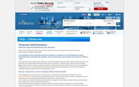 Screenshot of FAQ Page tributes.com - Tributes.com - captured Sept. 17, 2014