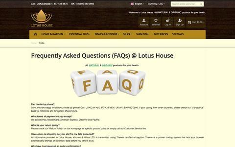 Screenshot of FAQ Page lotus-house.com - FAQs - captured May 23, 2017